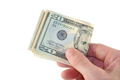 деньги руки сверх Стоковое Фото
