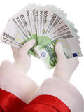 деньги руки santa claus Стоковое Фото