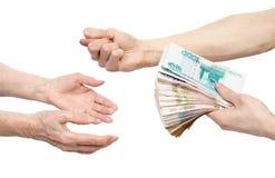 деньги рук Стоковые Изображения RF