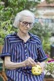 Деньги сбережений бабушки с копилкой Стоковое фото RF