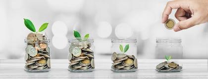 Деньги сбережений, концепции банка и вклада, панорамная рука кладя монетку в стеклянные бутылки с накалять заводов Стоковые Фото