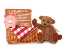 Деньги сбережений на партии пикника плюшевых медвежоат Стоковое Фото