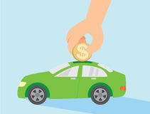 Деньги сбережений для автомобиля покупки Стоковое фото RF