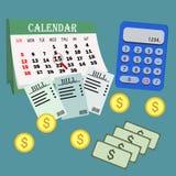 Деньги сбережений для оплачивая счетов Концепция дела, финансов и вклада также вектор иллюстрации притяжки corel Календарь компен Стоковые Изображения RF
