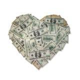 деньги сердца Стоковые Изображения