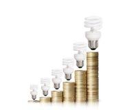 Деньги сохраненные в различных видах электрических лампочек Стоковое фото RF