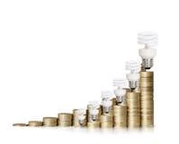 Деньги сохраненные в различных видах электрических лампочек Стоковые Фото