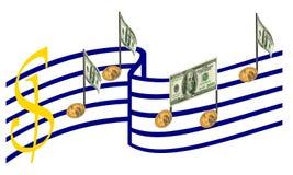 Деньги, сработанность дела, успех музыки изолировано Стоковые Фото