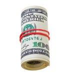 деньги счетов изолированные долларами свертывают белизну Стоковое Изображение