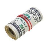 деньги счетов изолированные долларами свертывают нас белые Стоковое Фото