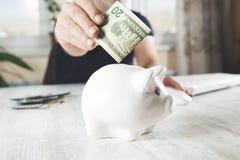 Деньги с копилкой стоковое фото rf