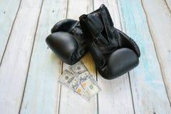Деньги с перчатками бокса Стоковая Фотография