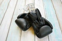 Деньги с перчатками бокса Стоковое Изображение RF