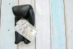 Деньги с перчатками бокса Стоковые Фотографии RF