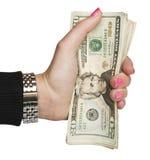 деньги удерживания руки Стоковое Изображение