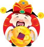деньги удерживания стародедовского бога монетки золотистые Стоковое Изображение RF