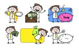 Деньги финансов бизнесмена мультфильма & сохраняя представления бесплатная иллюстрация