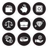 Деньги, финансы, установленные значки оплат Стоковое Изображение RF