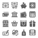Деньги, финансы, ходя по магазинам значки иллюстрация вектора