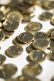 Деньги, финансы чеканит евро стоковая фотография rf