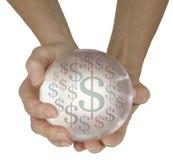 Деньги хрустального шара предсказывая в будущем Стоковое Изображение RF