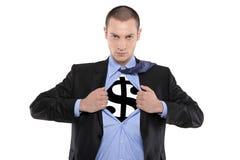деньги человека супер Стоковые Изображения