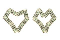 деньги 2 сердец Стоковые Изображения RF