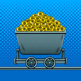 Деньги Bitcoin в векторе искусства шипучки вагонетки горнорабочей Стоковое Изображение