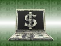 Деньги Labtop Стоковая Фотография