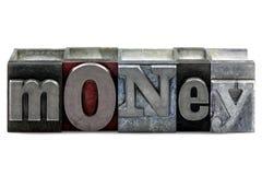деньги letterpress Стоковое Изображение