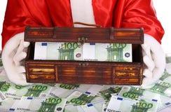 деньги santa claus коробки Стоковое Изображение RF