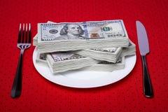 Деньги Tableware бумажные Стоковые Фото