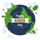 День беседки Изображение дерева Иллюстрация вектора на праздник Символ arboriculture, лесов, земледелия космос Стоковые Изображения