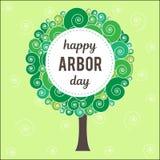 День беседки Изображение дерева Иллюстрация вектора на праздник Символ arboriculture, лесов, земледелия космос Стоковое Изображение RF