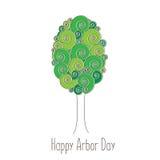 День беседки Изображение дерева Иллюстрация вектора на праздник Символ arboriculture, лесов, земледелия космос Стоковые Фото