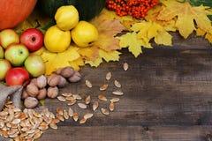 День благословения Тыквы, яблоки, гайки, семена, ах на деревянном Стоковое Фото