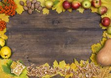 День благословения Тыквы, яблоки, гайки, семена, ах на деревянном Стоковая Фотография