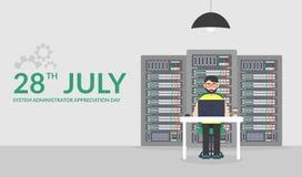 День благодарности системного администратора 28-ое июля Иллюстрация вектора в плоском стиле Обслуживание сервера технологий Стоковая Фотография