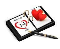 День Валентайн в календаре Стоковая Фотография