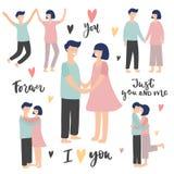 День Валентайн и набор свадьбы с парами и текстом бесплатная иллюстрация