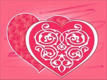 День Валентайн! красивая красная карта с сердцами иллюстрация штока