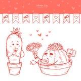 День Валентайн набора вектора Гирлянда флагов, пара иллюстрации руки вычерченная подарка кактусов любовников букет цветков иллюстрация штока