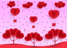 День Валентайн, розовая предпосылка поздравительной открытки, воздушные шары летая в небе, дождь реалистической бумаги сердец иллюстрация штока