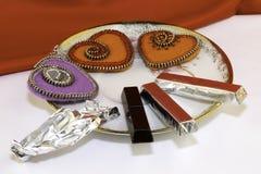 День Валентайн, handmade продукты от войлока стоковое изображение