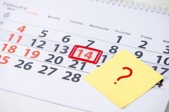 День валентинок, метка 14-ое февраля на календаре Концепция Wha Стоковая Фотография