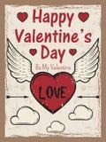 День валентинок покрасил винтажный плакат с сердцем с стрелкой и крылами, облаками Шаблон поздравительной открытки дня валентинок Стоковое Изображение