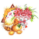 День валентинки и милое животное иллюстрация штока