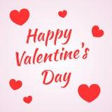 День валентинки надписи счастливый на светлой предпосылке с группой в составе малые красные сердца Стоковая Фотография RF