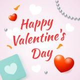 День валентинки надписи счастливый на светлой предпосылке с некоторыми объектами, иллюстрация для открыток и дизайн Стоковая Фотография RF
