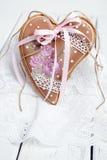 День валентинки печений пряника в форме сердц Стоковое Фото